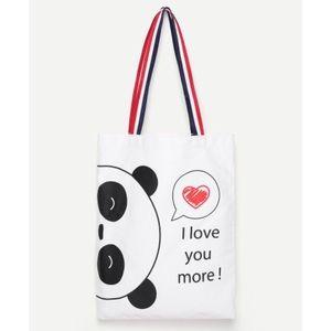 🐼LAST ONE! Panda Print Canvas Tote Bag